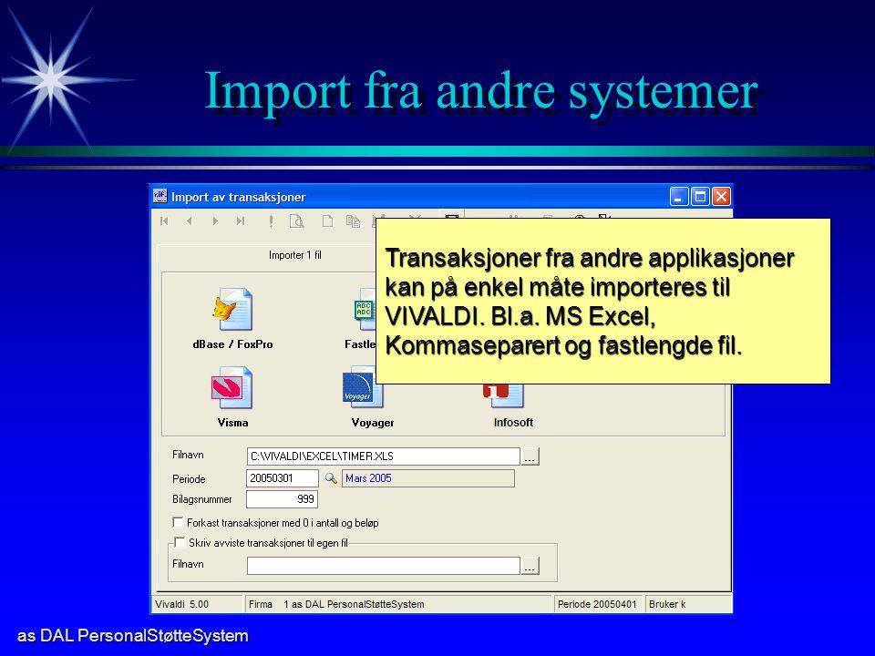 Import fra andre systemer