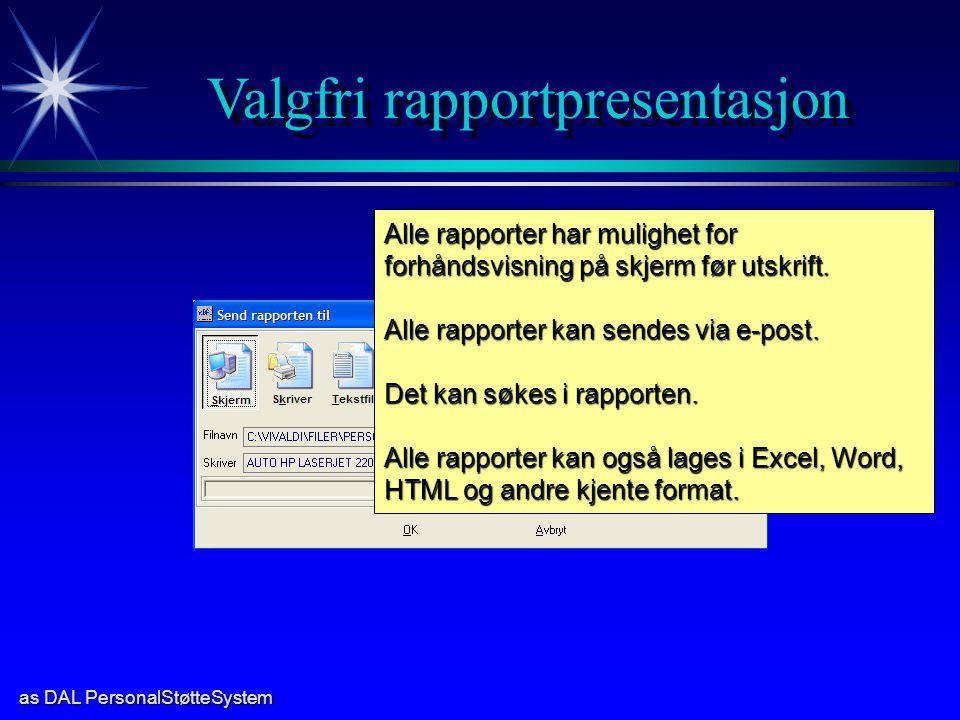 Valgfri rapportpresentasjon
