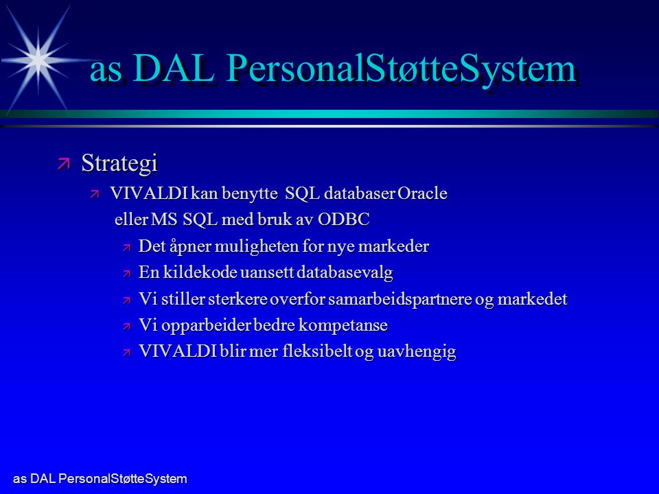 as DAL PersonalStøtteSystem