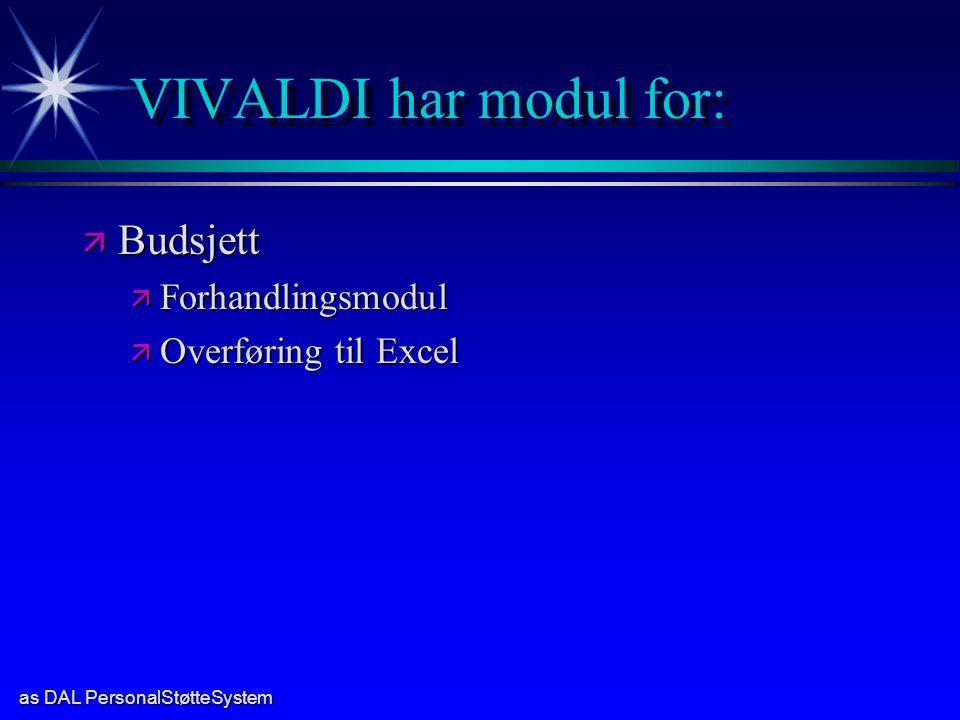 VIVALDI har modul for: Budsjett Forhandlingsmodul Overføring til Excel