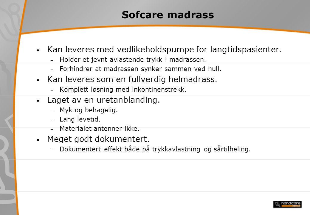 Sofcare madrass Kan leveres med vedlikeholdspumpe for langtidspasienter. Holder et jevnt avlastende trykk i madrassen.
