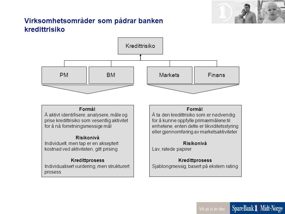 Virksomhetsområder som pådrar banken kredittrisiko