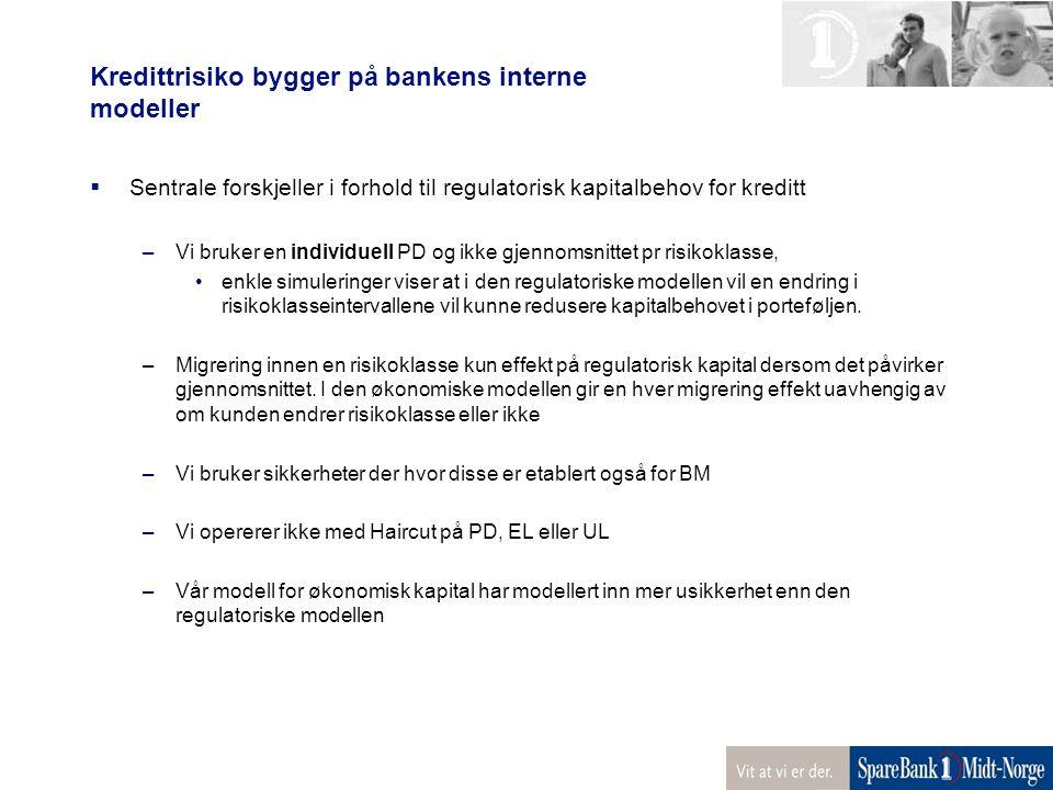 Kredittrisiko bygger på bankens interne modeller