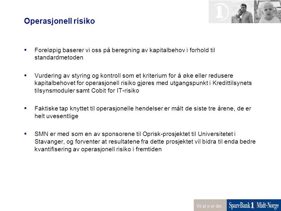 Operasjonell risiko Foreløpig baserer vi oss på beregning av kapitalbehov i forhold til standardmetoden.