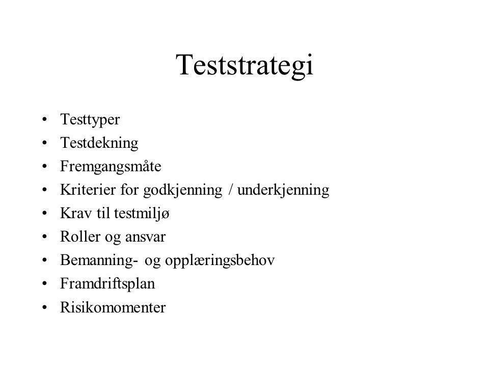 Teststrategi Testtyper Testdekning Fremgangsmåte