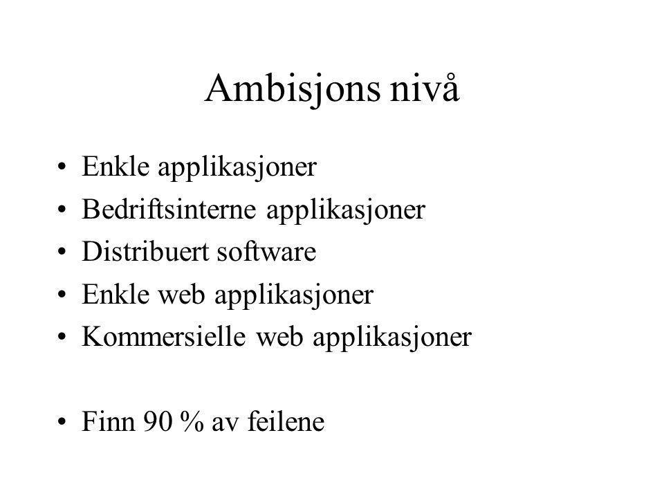 Ambisjons nivå Enkle applikasjoner Bedriftsinterne applikasjoner