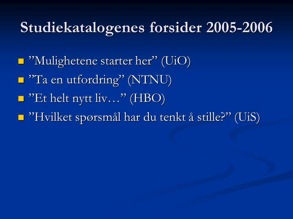Studiekatalogenes forsider 2005-2006