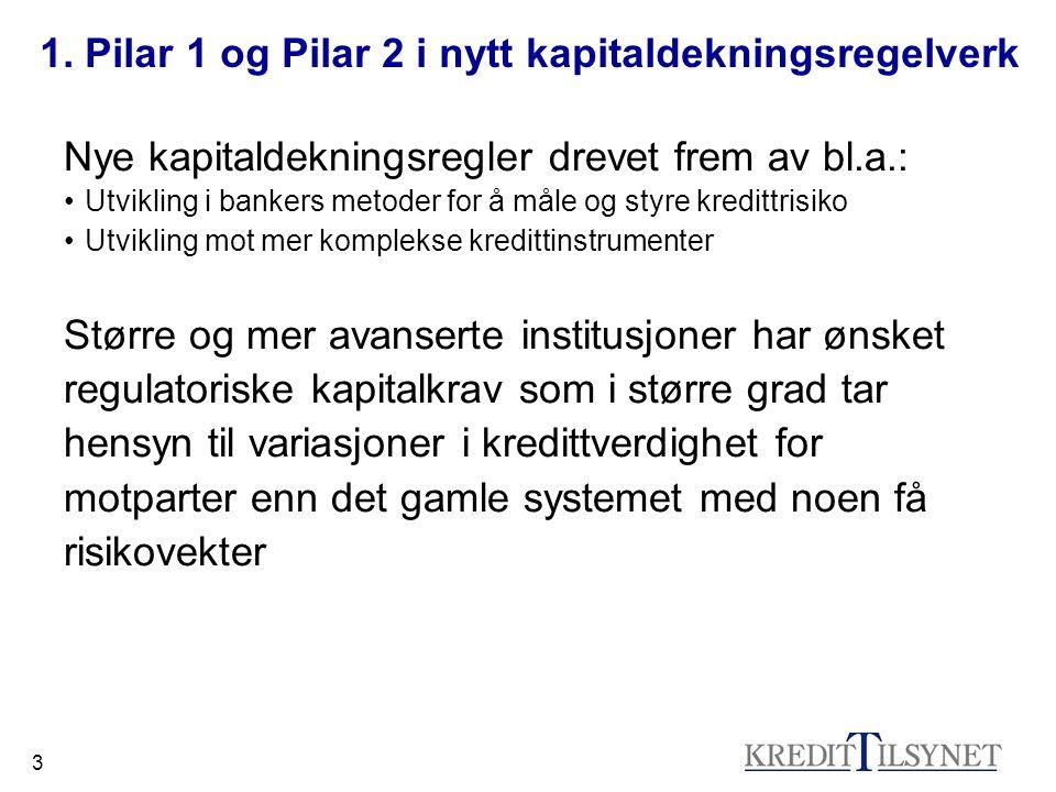1. Pilar 1 og Pilar 2 i nytt kapitaldekningsregelverk