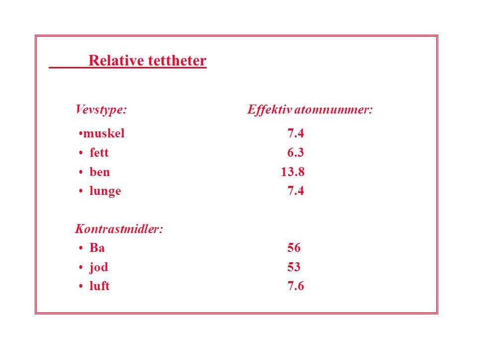 Relative tettheter Vevstype: Effektiv atomnummer: muskel 7.4 fett 6.3