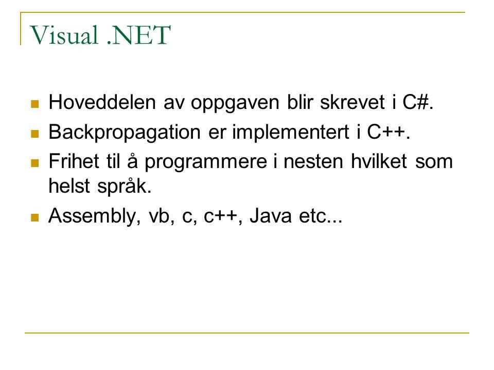 Visual .NET Hoveddelen av oppgaven blir skrevet i C#.