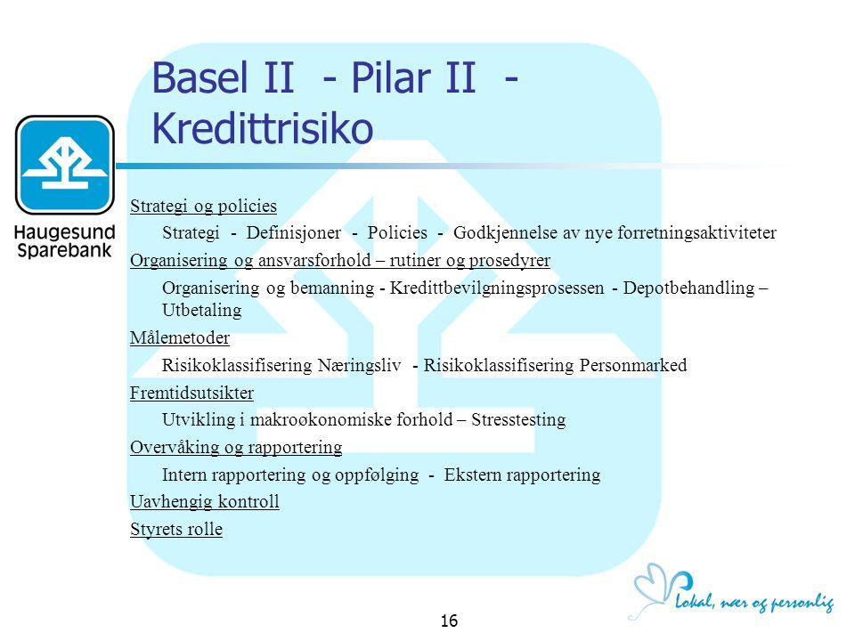 Basel II - Pilar II - Kredittrisiko
