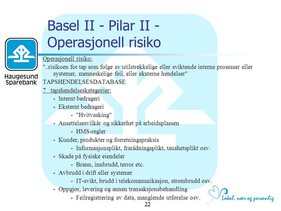 Basel II - Pilar II - Operasjonell risiko