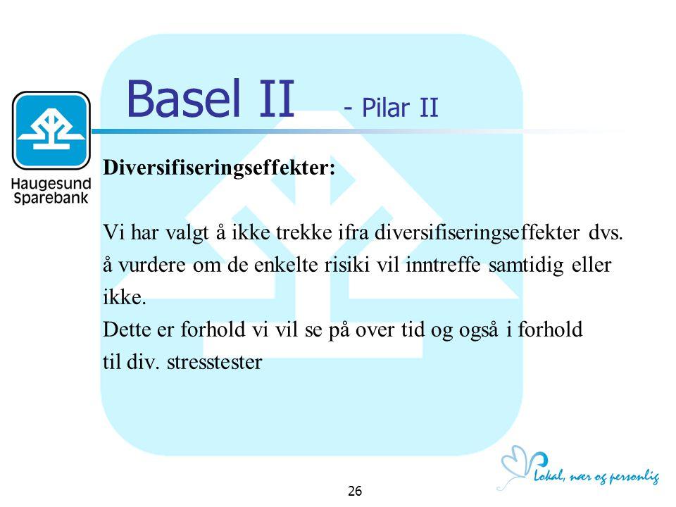 Basel II - Pilar II Diversifiseringseffekter: