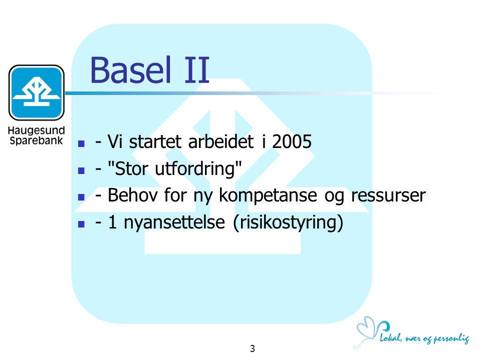 Basel II - Vi startet arbeidet i 2005 - Stor utfordring