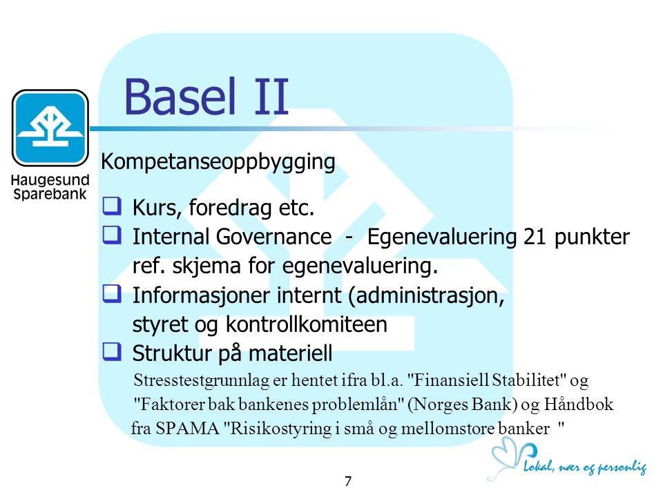 Basel II Kompetanseoppbygging Kurs, foredrag etc.