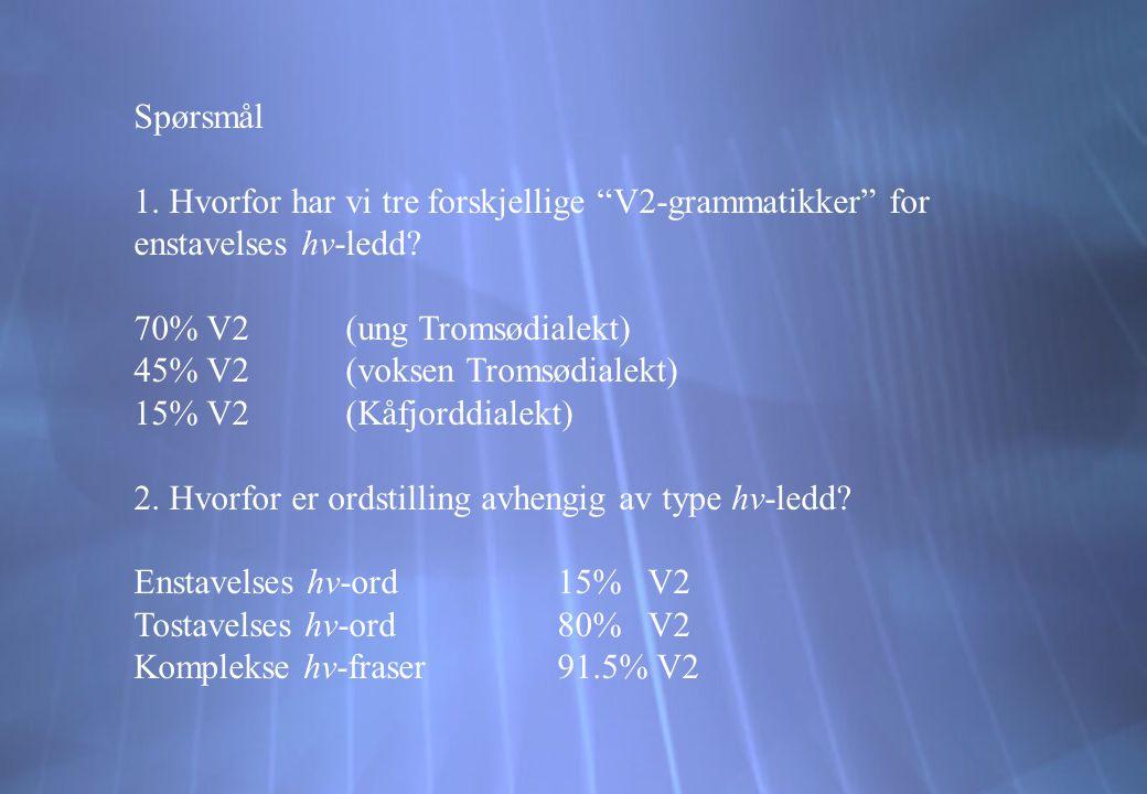 Spørsmål 1. Hvorfor har vi tre forskjellige V2-grammatikker for enstavelses hv-ledd 70% V2 (ung Tromsødialekt)