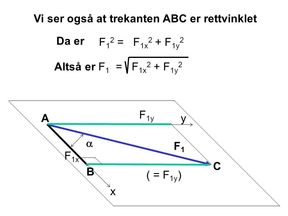 Vi ser også at trekanten ABC er rettvinklet