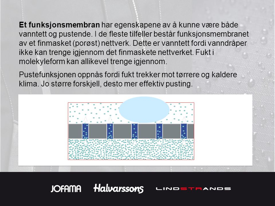 Et funksjonsmembran har egenskapene av å kunne være både vanntett og pustende. I de fleste tilfeller består funksjonsmembranet av et finmasket (porøst) nettverk. Dette er vanntett fordi vanndråper ikke kan trenge igjennom det finmaskete nettverket. Fukt i molekyleform kan allikevel trenge igjennom.