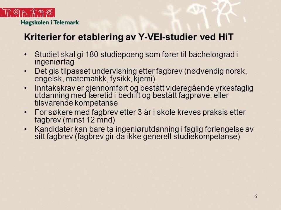 Kriterier for etablering av Y-VEI-studier ved HiT