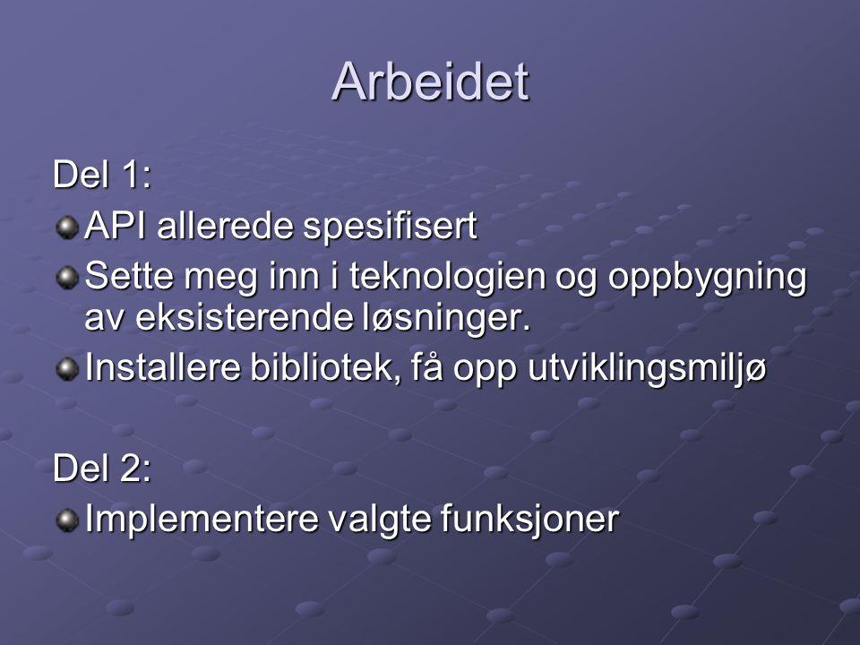 Arbeidet Del 1: API allerede spesifisert
