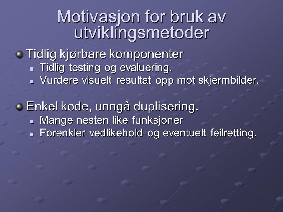 Motivasjon for bruk av utviklingsmetoder