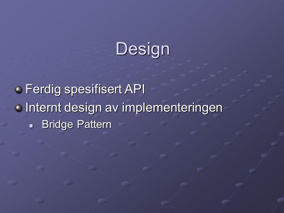 Design Ferdig spesifisert API Internt design av implementeringen