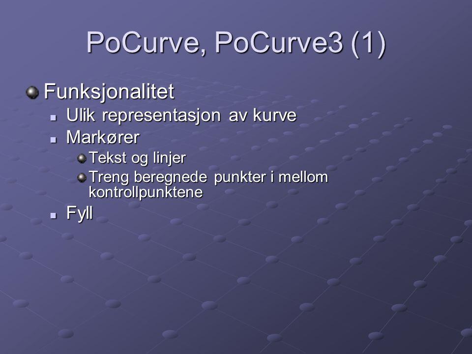 PoCurve, PoCurve3 (1) Funksjonalitet Ulik representasjon av kurve