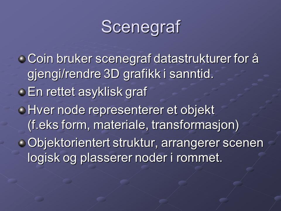 Scenegraf Coin bruker scenegraf datastrukturer for å gjengi/rendre 3D grafikk i sanntid. En rettet asyklisk graf.