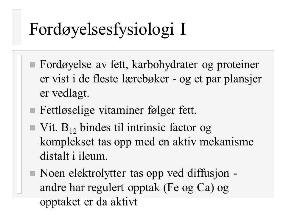 Fordøyelsesfysiologi I