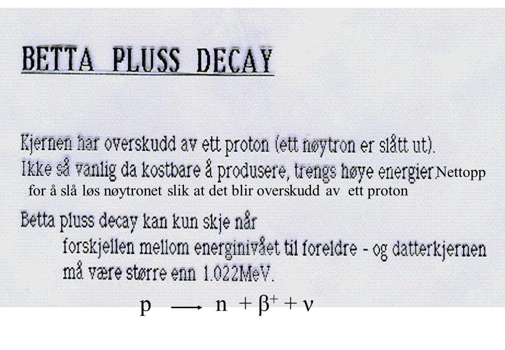 Nettopp for å slå løs nøytronet slik at det blir overskudd av ett proton p n + β+ + ν