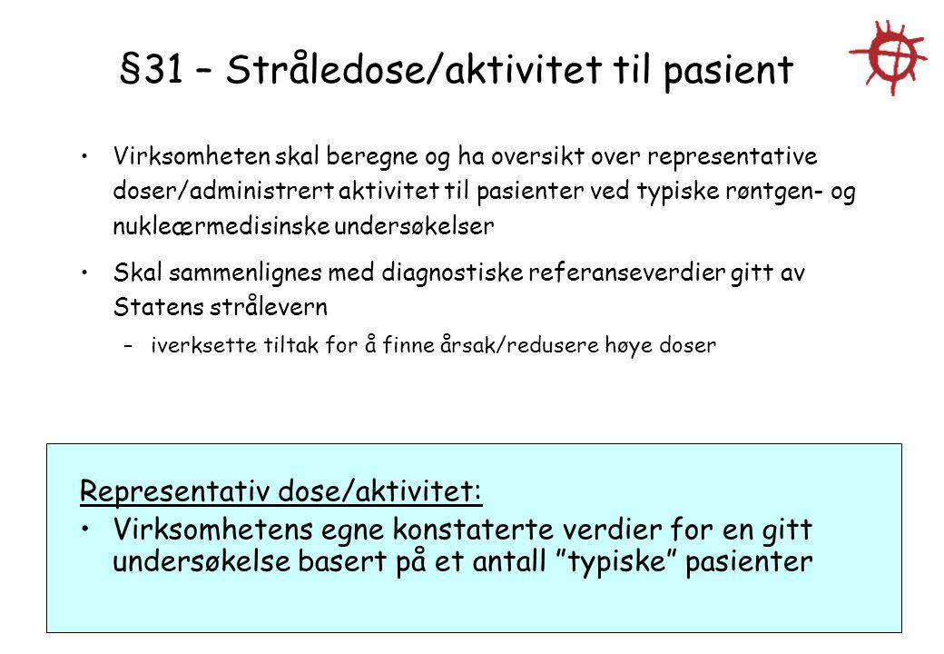 §31 – Stråledose/aktivitet til pasient