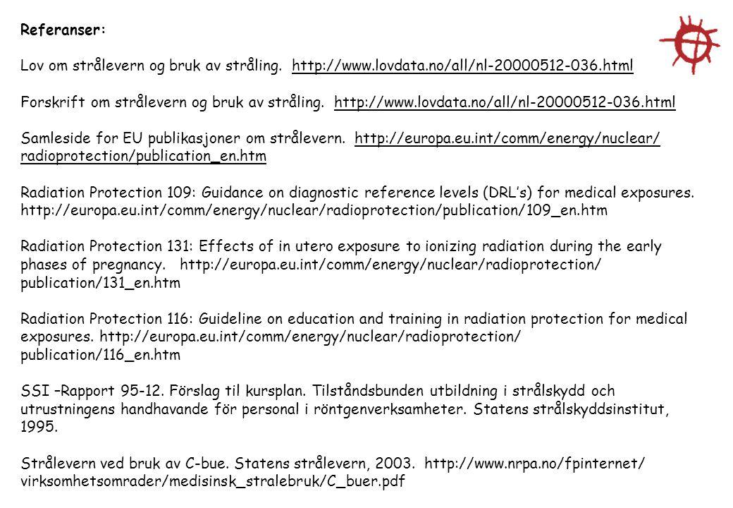 Referanser: Lov om strålevern og bruk av stråling. http://www.lovdata.no/all/nl-20000512-036.html.