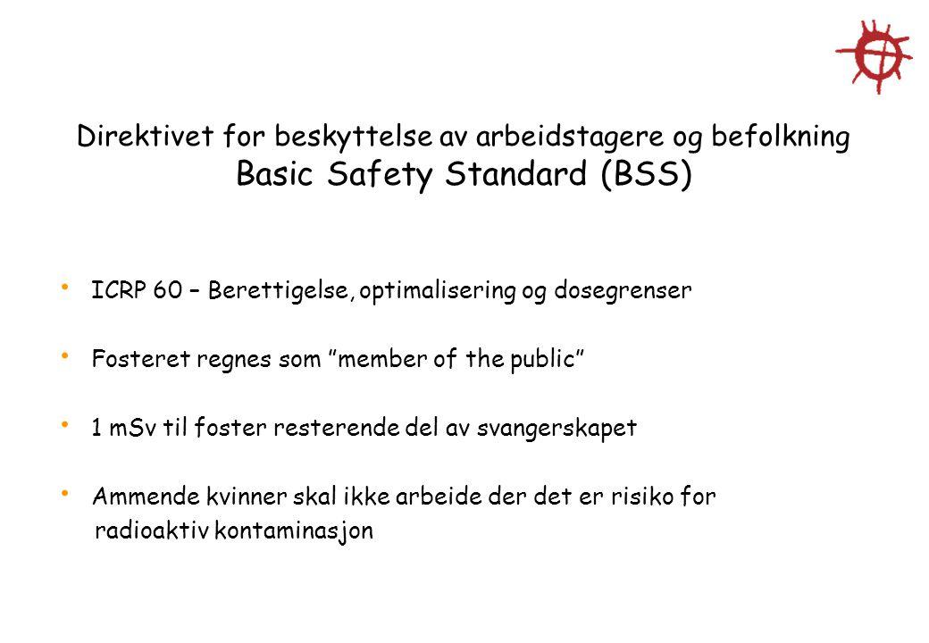 Direktivet for beskyttelse av arbeidstagere og befolkning Basic Safety Standard (BSS)