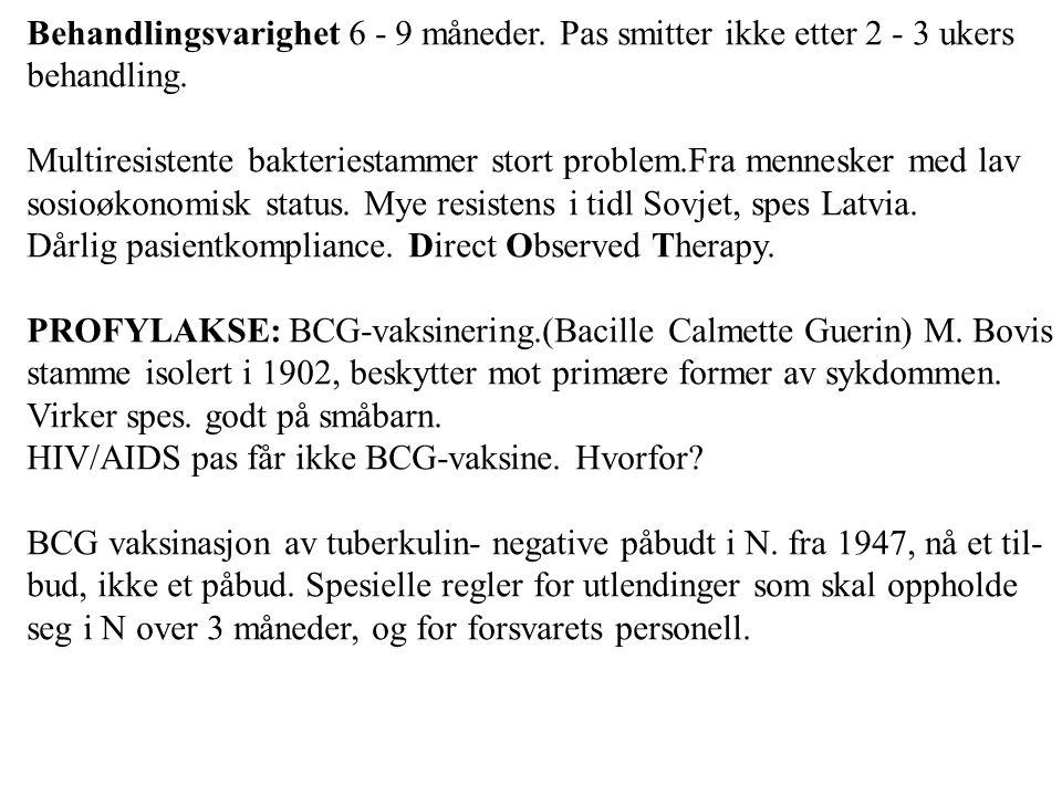 Behandlingsvarighet 6 - 9 måneder. Pas smitter ikke etter 2 - 3 ukers