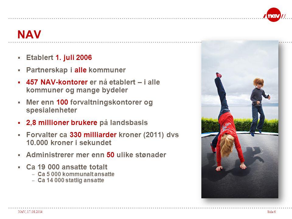 NAV Etablert 1. juli 2006 Partnerskap i alle kommuner