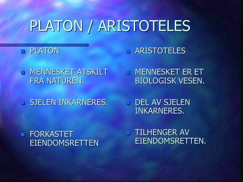 PLATON / ARISTOTELES PLATON MENNESKET ATSKILT FRA NATUREN.
