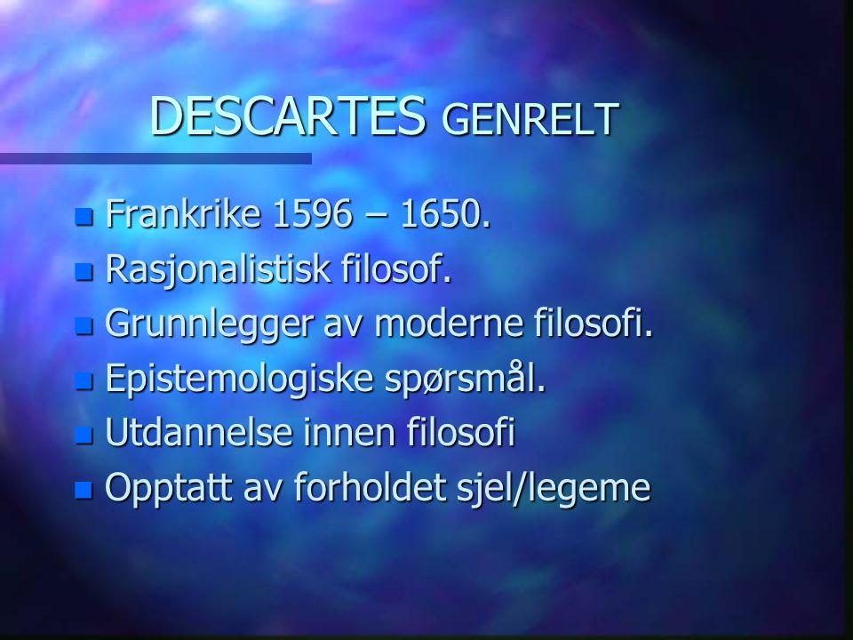 DESCARTES GENRELT Frankrike 1596 – 1650. Rasjonalistisk filosof.
