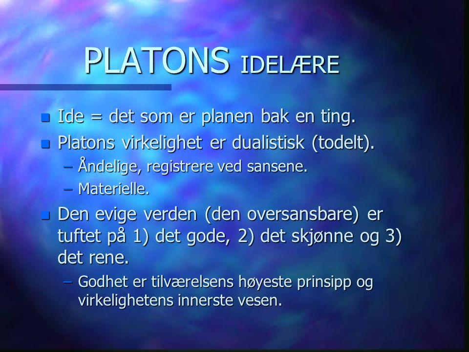 PLATONS IDELÆRE Ide = det som er planen bak en ting.