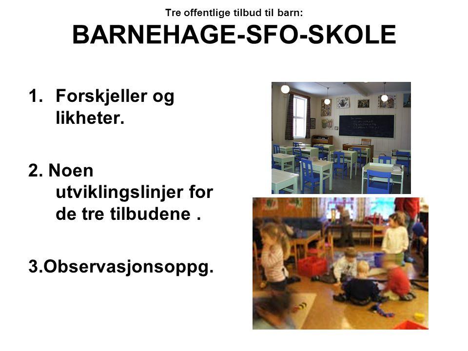 Tre offentlige tilbud til barn: BARNEHAGE-SFO-SKOLE