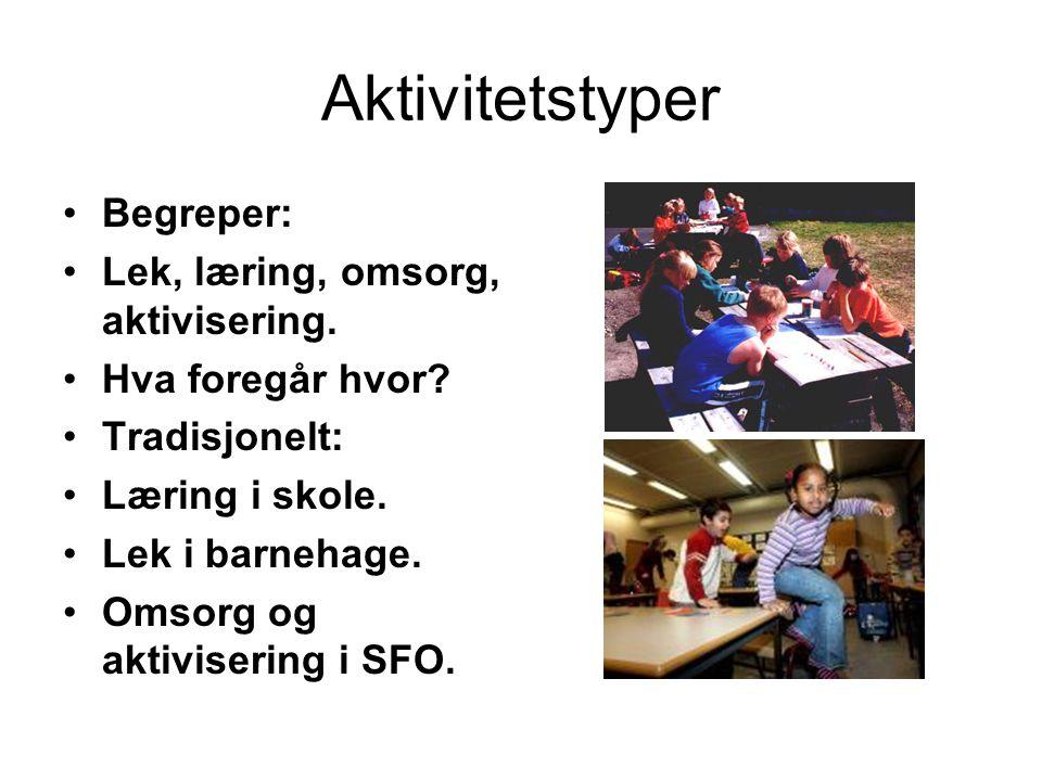 Aktivitetstyper Begreper: Lek, læring, omsorg, aktivisering.