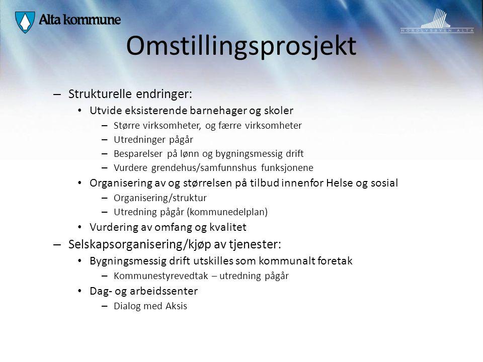 Omstillingsprosjekt Strukturelle endringer: