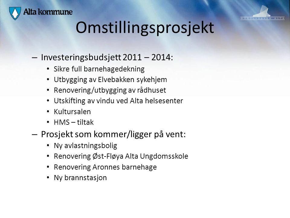 Omstillingsprosjekt Investeringsbudsjett 2011 – 2014: