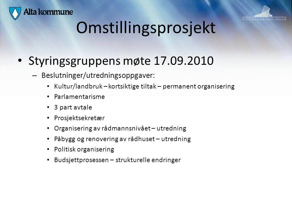 Omstillingsprosjekt Styringsgruppens møte 17.09.2010