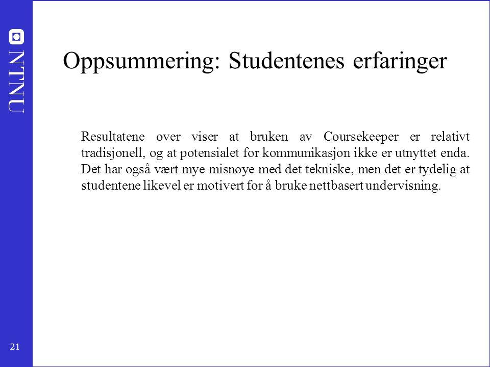 Oppsummering: Studentenes erfaringer