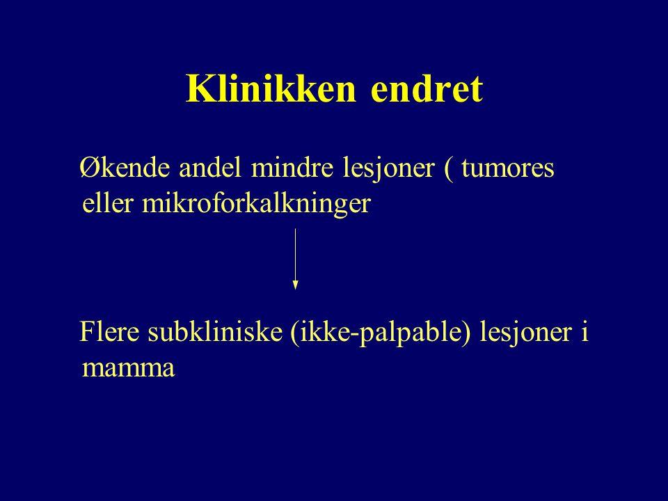 Klinikken endret Økende andel mindre lesjoner ( tumores eller mikroforkalkninger.