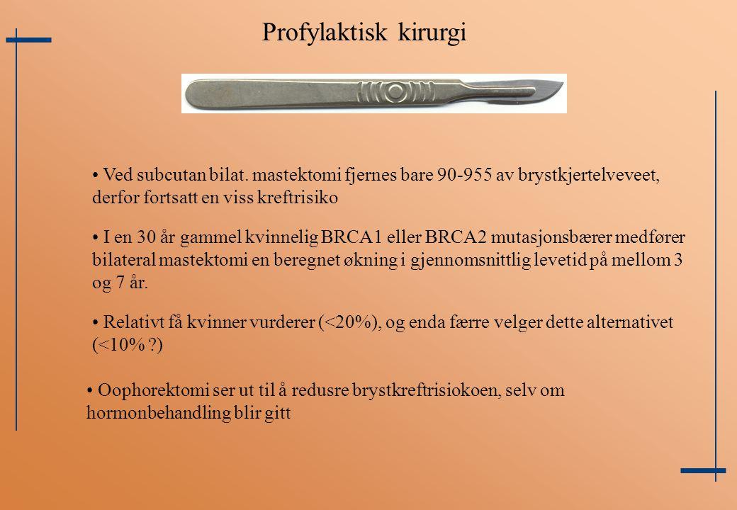 Profylaktisk kirurgi Ved subcutan bilat. mastektomi fjernes bare 90-955 av brystkjertelveveet, derfor fortsatt en viss kreftrisiko.