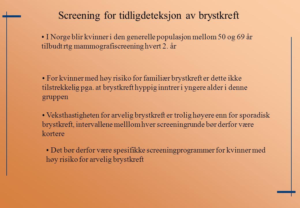Screening for tidligdeteksjon av brystkreft