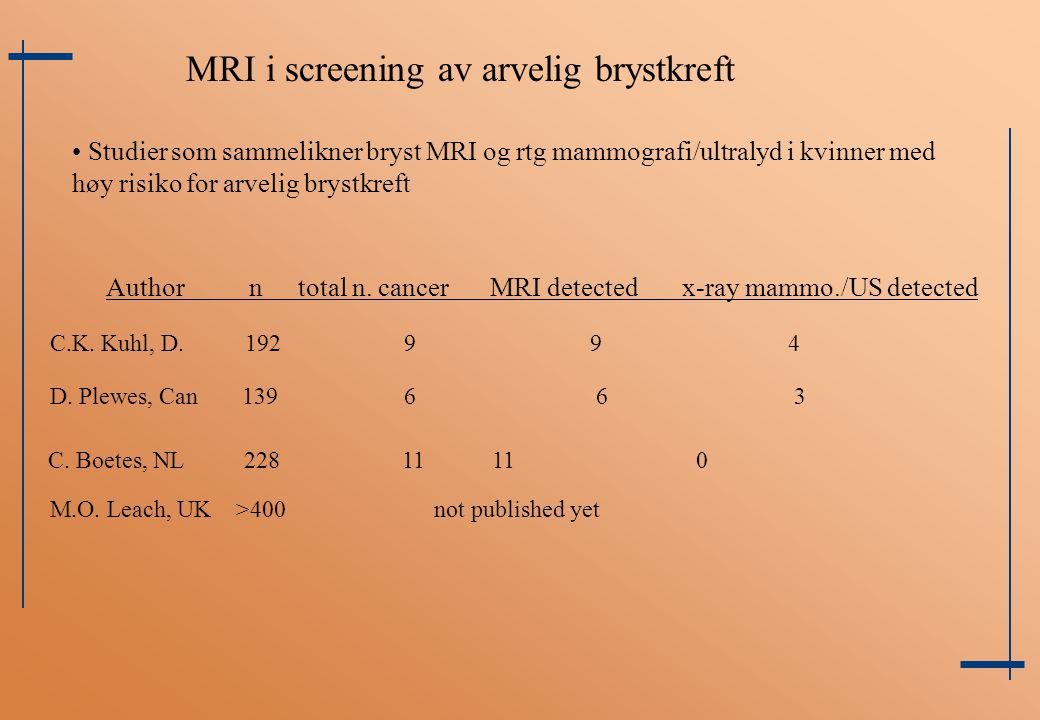 MRI i screening av arvelig brystkreft