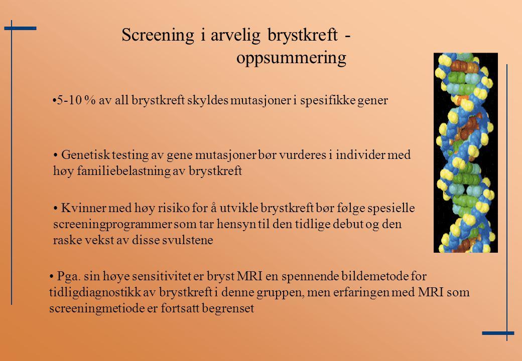 Screening i arvelig brystkreft - oppsummering