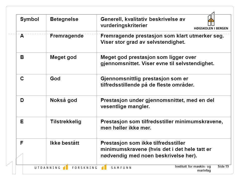 Generell, kvalitativ beskrivelse av vurderingskriterier